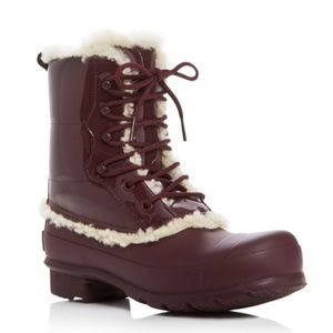 New Hunter Lace up Shearling Lined Rain Boot 7